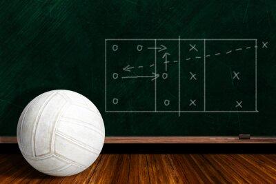Fototapete Spielkonzept Mit Volleyball und Kreide-Brettspiel-Strategie