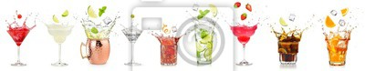 Fototapete splashing cocktails collection isolated on white background.