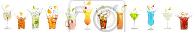 Fototapete splashing cocktails collection isolated on white background