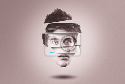 Fototapete Split personality concept. Isolated cutout head of person with mental health disorder