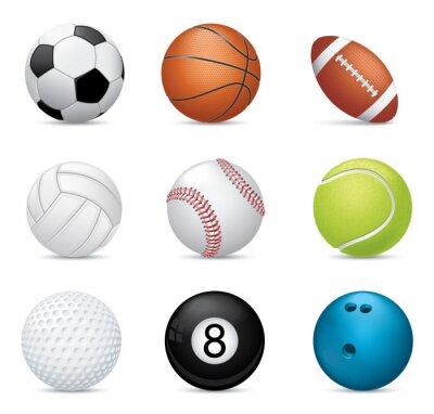 Fototapete Sport Bälle auf weißem Hintergrund
