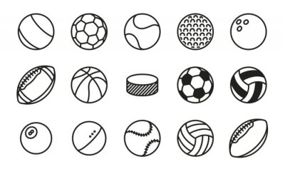 Fototapete Sport Bälle Minimal Flat Line Vektor Icon Set. Fußball, Tennis, Golf, Bowling, Basketball, Hockey, Volleyball, Rugby, Pool, Baseball, Tischtennis