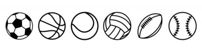 Fototapete Sport balls set. Ball icons. Balls for Football, Soccer, Basketball, Tennis, Baseball, Volleyball. Vector illustration