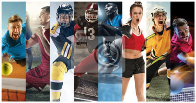 Fototapete Sport collage about soccer, american football, basketball, tennis, boxing, ice and field hockey, table tennis