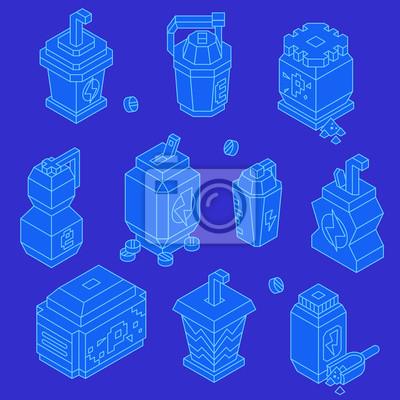Sport getränke isometrische linie icon set fototapete • fototapeten ...