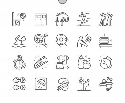 Fototapete Sport school. Leisure activity, healthy and equipment. Basketball, swimming, volleyball, tennis, archery, football and other. Pixel Perfect Vector Thin Line Icons. Simple Minimal Pictogram
