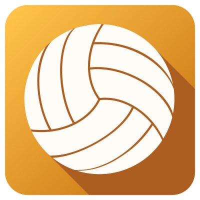 Fototapete Sport Symbol mit Volleyball Ball im flachen Stil. Vector