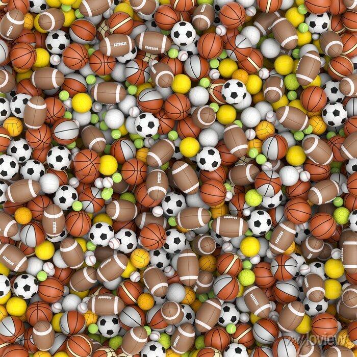 Fototapete Sportbälle auf dem Boden