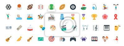 Fototapete Sports, music instruments, games vector illustration symbols set. All type of balls, activities icons, emoticons set, collection.