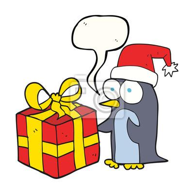 Sprechblase cartoon-weihnachts-pinguin mit geschenk fototapete ...