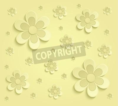 Fototapete Spring Flowers 3D paper yellow wallpaper raster