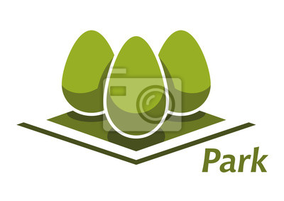 Spring park abstraktes Symbol mit Büschen
