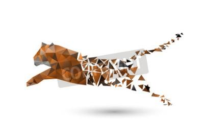 Fototapete Springender Tiger aus Polygonen