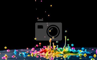 Fototapete Spritzer Farbe Tinte auf schwarzem Hintergrund