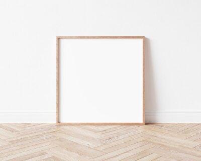 Fototapete Square rose gold empty pictureframe on wooden floor. Copper frame mock up. 3D illustration.
