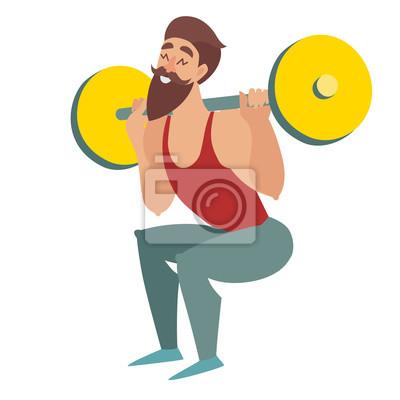 Squats Übung. Ein bärtiger Mann mit einer Hantelmuskulatur. Isoliert vector cartoon Abbildung auf weißem Hintergrund.