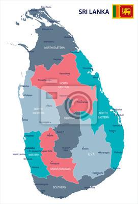 Sri Lanka Karte Zum Drucken.Fototapete Sri Lanka Karte Und Flagge Detaillierte Vektor Illustration
