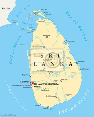 Sri Lanka Karte Zum Drucken.Fototapete Sri Lanka Politische Karte Mit Hauptstadten Sri Jayawardenepura