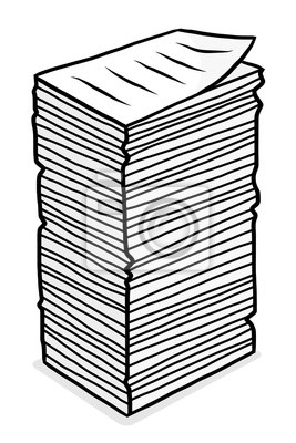Fototapete stack of paper / cartoon vector and illustration, grayscale, hand drawn style, isolated on white background.
