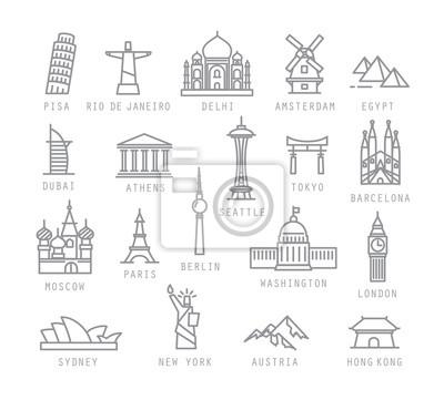 Fototapete Stadt flache Symbole