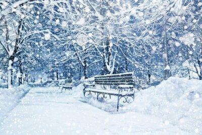 Fototapete Stadt mit Schnee bedeckt