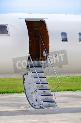 Fototapete Stairs on a luxury private jet aircraft - Bombardier Global Express