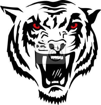 Stammes - Kopf Tiger rote Augen