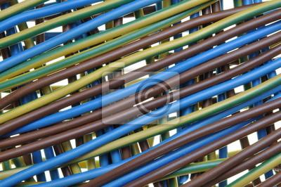 Standard-dreidraht-stromkabel, verteilerfeld fototapete ...