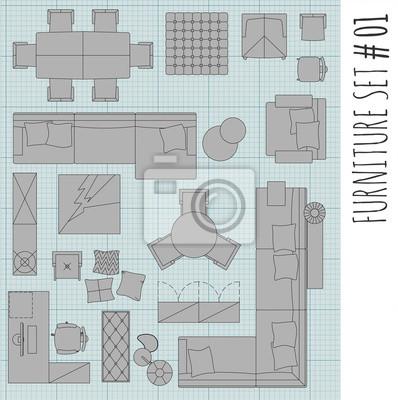 Fototapete Standard Möbel Symbole In Der Architektur Verwendet Pläne  Symbole Gesetzt, Grafik