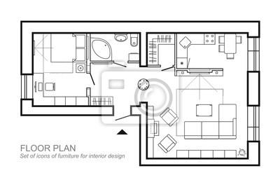 Fototapete Standard Wohnmöbel Symbole Gesetzt In Architektur Pläne  Verwendet, Home Planung Icon