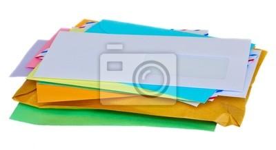 Fototapete Stapel Post auf weißem Hintergrund