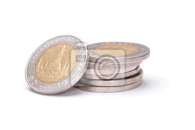 Stapel Von 10 Baht Münzen Isoliert Auf Weiß Fototapete Fototapeten