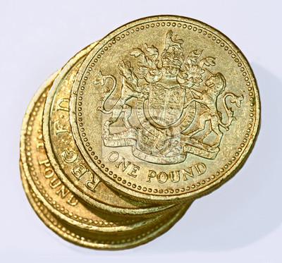 Stapel Von Briten Eine Pfund Münzen Fototapete Fototapeten