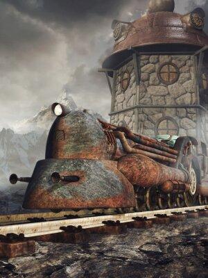Fototapete Stara zardzewiała lokomotywa na tle wieży