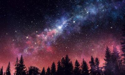 Fototapete Stary klarer Nachthimmel. Gemischte Medien