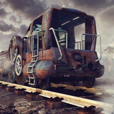 Fototapete Stary zardzewiały pociąg w górskiej scenerii