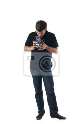 Stattlicher Mann mit Vintage-Foto-Kamera verwechselt