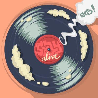 Stay Alive Nachricht auf dem Vinyl-Schallplatten-Label. Abbildung.
