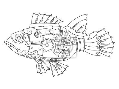 Steampunk stil fisch färbung buch vektor fototapete • fototapeten ...