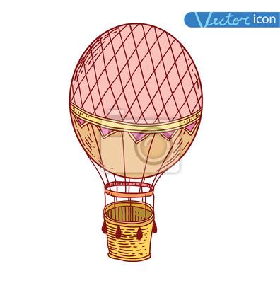 Steampunk vintage heißluftballon, von hand gezeichnet vektor ...