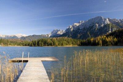 Fototapete Steg am Bergsee