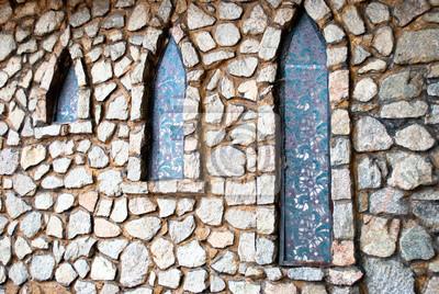 Fototapete Stein Graue Wand Von Großen Steinen Mit Verschiedenen Formen Und  Texturen Mit Drei Schmalen Fenstern