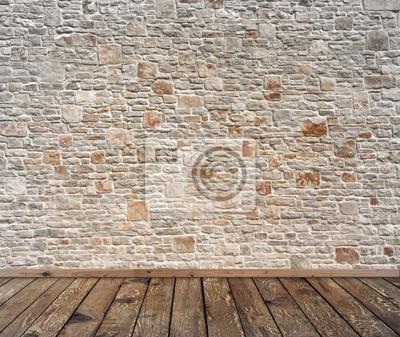 Steinwand und alter bretterboden. fototapete • fototapeten Altern ...