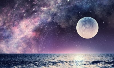 Fototapete Sternenhimmel und Mond. Gemischte Medien