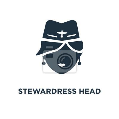 Stewardress Head icon. Black filled vector illustration. Stewardress Head symbol on white background.