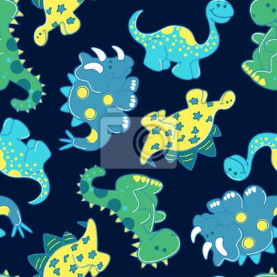 Stickerei dinosaurier in einem nahtlosen muster fototapete ...