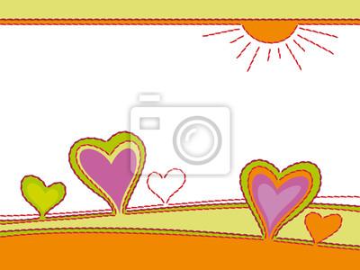 Stickerei von Herzen, abstrakte Landschaft