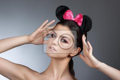 Stil Frau Porträt Perfektes Gesicht Professionelle Machen Mode