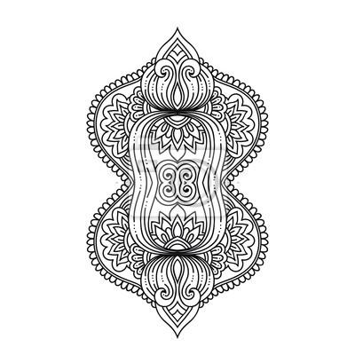 Stilisierte Hennatätowierungblumenschablone Im Indischen Art
