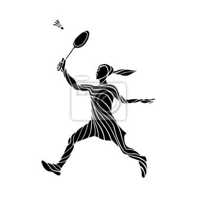 Stilisierte Silhouette der weiblichen Badmintonspieler